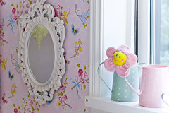 Annie's new room (Craft & Creativity) Tags: pink wallpaper white house home wall kids studio mirror design child sweden interior room polka pip dots pitcher greengate