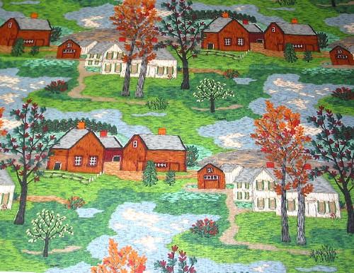 Vintage Fabric ~ Grandma Moses Mt. Nebo
