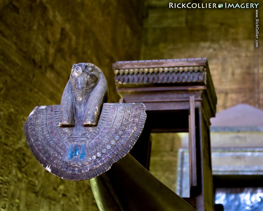 The funerary boat awaits pharaoh in the inner temple at Edfu, Egypt