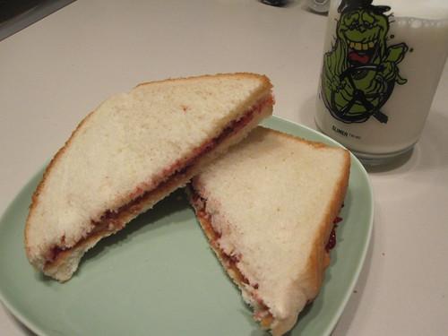 PB&J sandwich, milk