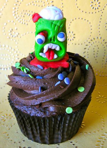 zombie halloween fondant edible handmade cupcake topper