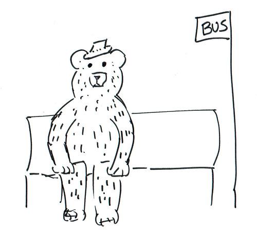 366 Cartoons - 233 - Bear waiting for a bus