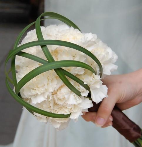 White Carnations and Lily Grass Orbs