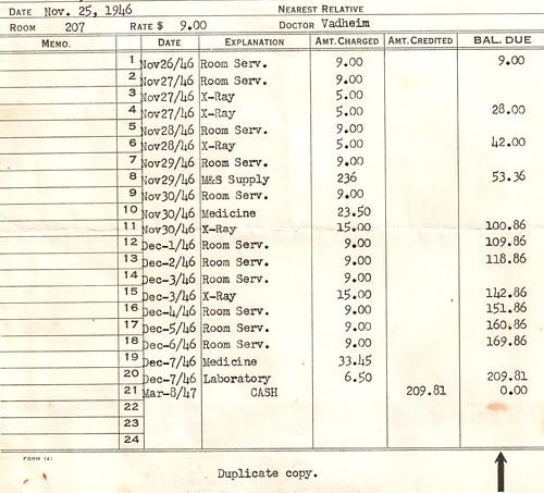 1946 Hospital Bill by HA! Designs - Artbyheather, on Flickr