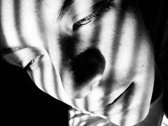 52/365 (Savannah Daras) Tags: light portrait white black window monochrome up self project shadows close natural blinds 365