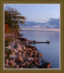 Superior at Rest (sunrisepenny...Penny Wojahn..) Tags: trees color fall up docks sunrise rocks paradise calm lakesuperior whitefishpoint pw michiganup pennywojahn pwonlocationphotography