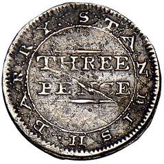 1790 Standish Barry threepence reverse