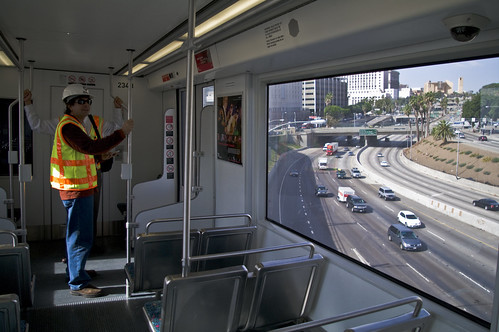 The Gold Line crosses the 10 Freeway.