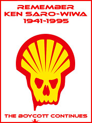 remembrance day (andres musta) Tags: poster remember protest ken shell oil kills boycott saro wiwa sarowiwa
