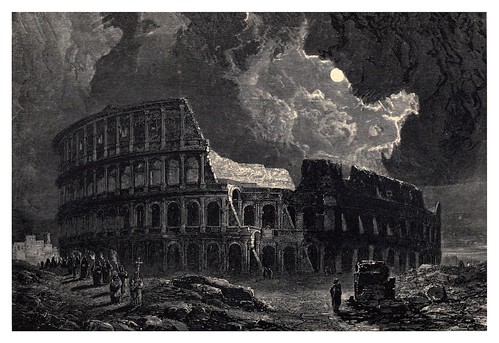 002-El coliseo a la luz de la luna Roma-Italian pictures drawn with pen and pencil 1878