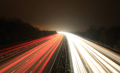 1013-1600 Wide-Edited (mwhcvt) Tags: road uk longexposure light trafficlights speed canon eos lights movement bars long exposure traffic motorway stripes freeway streams m6 warwickshire neons traffictrails dlsr lightstream moterway brinklow 450d canon450d mwhcvt