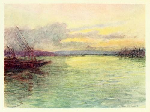 026-El Cuerno de Oro a la puesta del sol- Constantinople painted by Warwick Goble (1906)