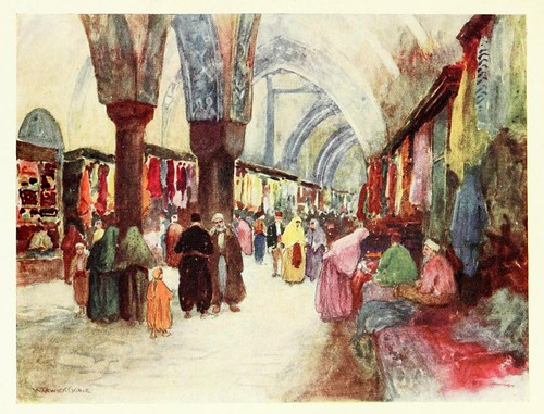 011-El Gran Bazar de Estambul- Constantinople painted by Warwick Goble (1906)
