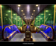 Up and Down (DolliaSH) Tags: city longexposure travel light people urban holland color colors architecture night train canon photography lights noche photo topf50 europe foto nightshot metro photos nacht escalator nederland thenetherlands tram rail denhaag symmetry le nuit thehague notte hdr stad 1000views noch zuidholland 1755 lightrailtransit southholland photomatix randstadrail 50d tonemapping nachtopname beatrixkwartier canonefs1755mmf28isusm canon1755mmf28isusm canoneos50d randstadrailstation dollia dollias sheombar caonoeos50d hybridrailsystem dolliash sprinterstation