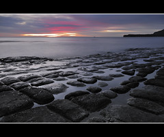 Tessellated Pavement II (andrewfuller62) Tags: sunrise dawn perspective australia erosion f16 tasmania 20mm pinksky hitech waveaction diagonals vanishingpoints sigma1020mm tessellatedpavement eaglehawkneck tasmanpeninsula watermovement southheast nikond300 manfrotto055xprob 2stopsoftndgrad loafformations