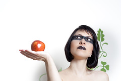 Apple of Discord (Marios Tziortzis) Tags: people woman white black sexy green apple floral girl make up wall 50mm eyes extreme cyprus lips decal lipstick raccoon 1337 nicosia lefkosia strobist kipros strobistcy strobistincyprus