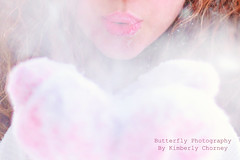 Snowflakes are ANGEL Kisses..... (Kimberly Chorney) Tags: pink winter snow cold girl naturallight lips blowingsnow mittens