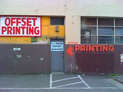 Can you spell it out more clearly? (dave.poon) Tags: sign parkinglot oldbuilding signart bigletters bigsign offsetprinting