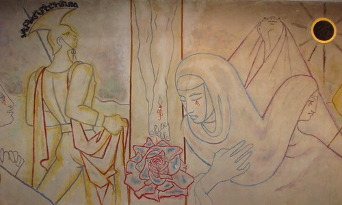 The striking Cocteau mural in the Church of Notre Dame de France, London. by TheAltruist.