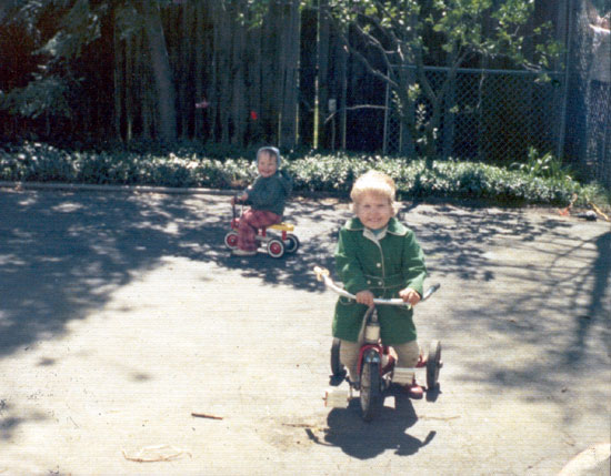 Alyce and Her Brother on Tricycles (Click to enlarge)