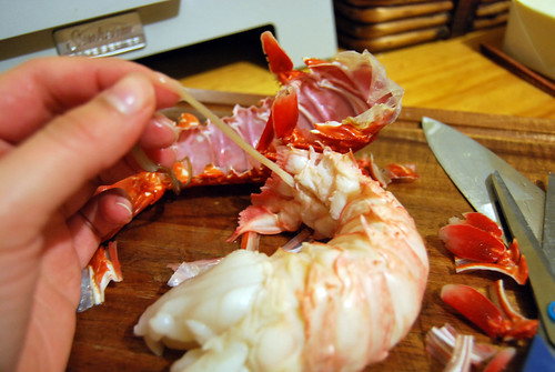 crayfish with intestinal tract removed