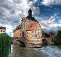 Town Hall of Bamberg in Germany (Werner Kunz) Tags: city trip travel blue sea vacation sky house lake holiday building water architecture photoshop river germany bayern deutschland bavaria town amazing nikon europe urlaub group haus wideangle bamberg german getty 100 40 franken fluss dri blauerhimmel hdr hdri deutsch werner reise haeuser the gettyimage frankonia kunz photomatix 20fav explored colorefex nikond90 topazadjust werkunz1 leuropepittoresque