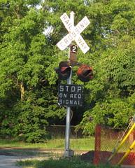 Crossbuck 2 (Sean_Marshall) Tags: railroad ontario sign railway crossbuck thorold buttoncopy
