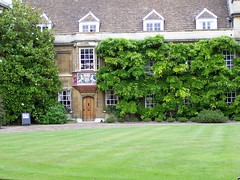 Courtyard below Darwins Room at Christs College, University of Cambridge