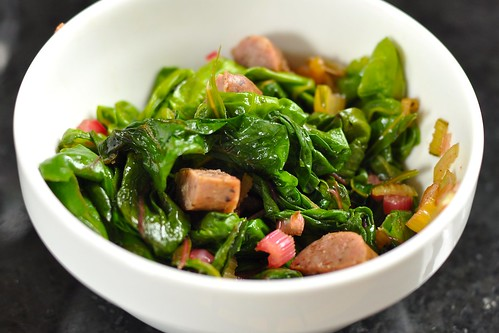 Chard w/ Niman Ranch sausage and sweet onion