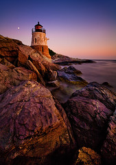 Of Suns and Moons. And Lighthouses. (chris lazzery) Tags: longexposure sunset lighthouse rhodeisland newport 5d castlehill narragansettbay canonef1740mmf4l bw30nd