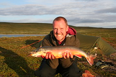 Arctic char 2,5kg (mortenklevis) Tags: red summer sun fish mountains water norway landscape norge fly fishing hiking tent flyfishing char nordnorge finnmark arcticchar finnmarksvidda northernnorway