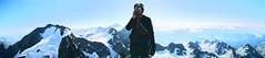 Francesco in cima al Roseg, telefona. (Michele Mondora) Tags: alps rock italia climbing alpinismo svizzera alpi francesco piz ghiacciaio roseg mountainering iceglacier tschierva eselgrat