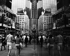 Reflections of Times Square NYC (astoria4u) Tags: street new york nyc bw white ny black reflection st brasil reflections garden square manhattan olive hersheys billboards times 2009 42 42nd
