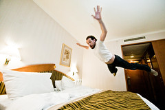 Poisson volant (ole) Tags: man hotel fly jump bed bedroom europe czech prague wideangle clment bedjump clmichou clemichou dopplr:stay=4bn1