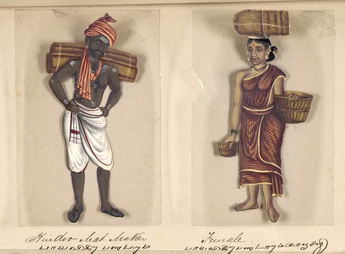 019- Fabricante de esteras hindú y su mujer-Seventy two specimens of castes in India 1837