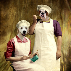 The chefs - les gourmandes (Martine Roch) Tags: fiction portrait woman dog pet cooking kitchen animal vintage square cook surreal retriever chef imagination surrealist manray petitechose martineroch flypapertextures
