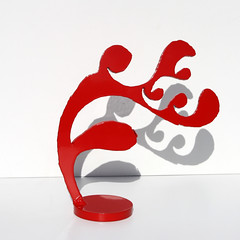 Fire Imp Sculpture (Red) No. 5 (john t unger) Tags: sculpture art fineart redsculpture abstractsculpture steelsculpture recycleart fireimp tabletopsculpture recycledsteelsculpture