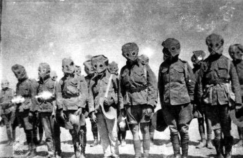 Soldiers drill in their gas masks during World War I