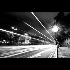 Hyde Park Corner (Joe Hesketh) Tags: longexposure london night blackwhite streetlamps lighttrails wellingtonarch hydeparkcorner explored nikond90 tokina1116mm28