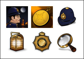 free London Inspector slot game symbols