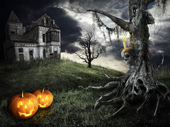 Happy Halloween theme (Artiom Ponkratenko) Tags: old orange house color tree art abandoned halloween yellow horizontal mystery illustration forest computer dark painting pumpkin landscape loneliness view expression vibrant empty magic gray style carving structure dirty spooky hut fantasy burnt horror backgrounds remote shack aging facial bizarre tale tranquil cloudscape scull stationary illness luminosity theworldwelivein colorphotoaward