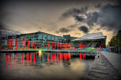 Grand Canal Square (Mick h 51) Tags: ireland red sky dublin building architecture clouds canon reflections eos lights site theatre led docklands libeskind beacons glowsticks crosby photomatix 450d grandcanalsquare