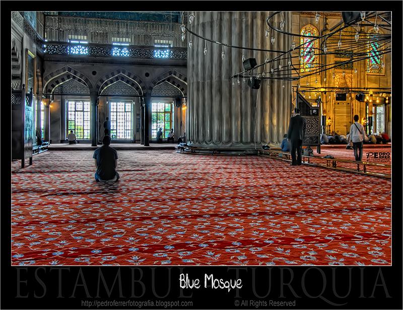 Mezquita Azul - la alfombra y la columna