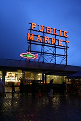 Public Market (Pike Place) (Janette Tran) Tags: seattle street blue red fish sign night lights washington downtown glow market pikeplace publicmarket
