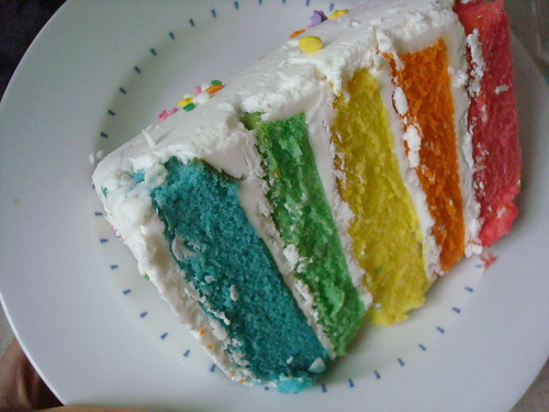 Rainbow cake from Madison Park Bakery
