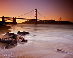 Golden Gate Bridge (Jay Tankersley Photography) Tags: ocean california bridge sunset beach golden bay gate san francisco rocks long exposure pacific nd grad efs1022mmf3545usm