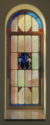 Saint Mary Roman Catholic Church, in Trenton, Illinois, USA - stained glass window of fleur de lis