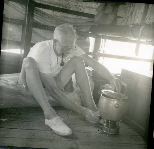 Edward Beckwith using the alcohol-fueled cooking pot