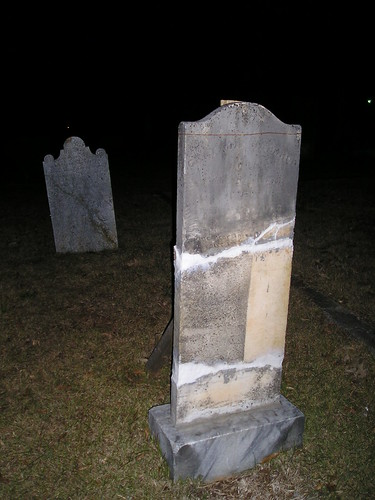 5:41 PM: Mortared and Splinted Tombstone, Rutherfordton City Cemetery