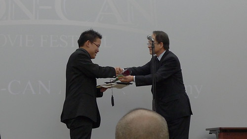 Receiving the Grand Prix award